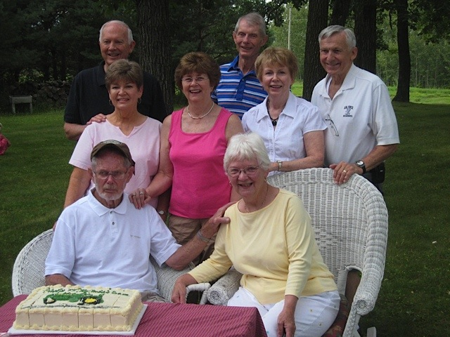 Back Row:  Jay, David, Jerry.  Middle Row:  Marti, Ruth, Mary.  Front Row:  Sam & Lyla
