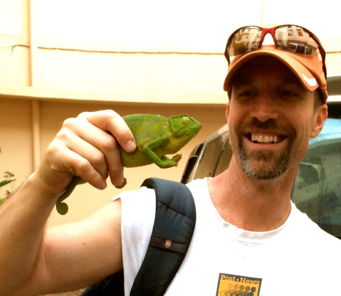 Andy with chameleon